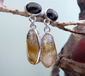 natural tumbled citrine earrings custom made